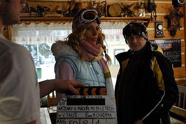 První klapka. Před kamerou Eva Jeníčková a Michal Suchánek