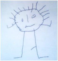 Hlavonožec - kresba maminky. Dítě 4 roky a 1 měsíc.