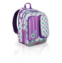 a41ad83e0c4 Klasický dvoukomorový školní batoh s hravým designem kytiček pro nejmenší  školačky v 1. až 3. třídě.