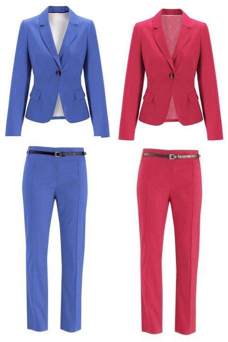 ŽENA-IN - Barevné kalhotové kostýmy nabízí řadu kombinací 92e5bfa93c