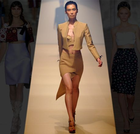 Asymetrická sukně, podprsenka a bolerko