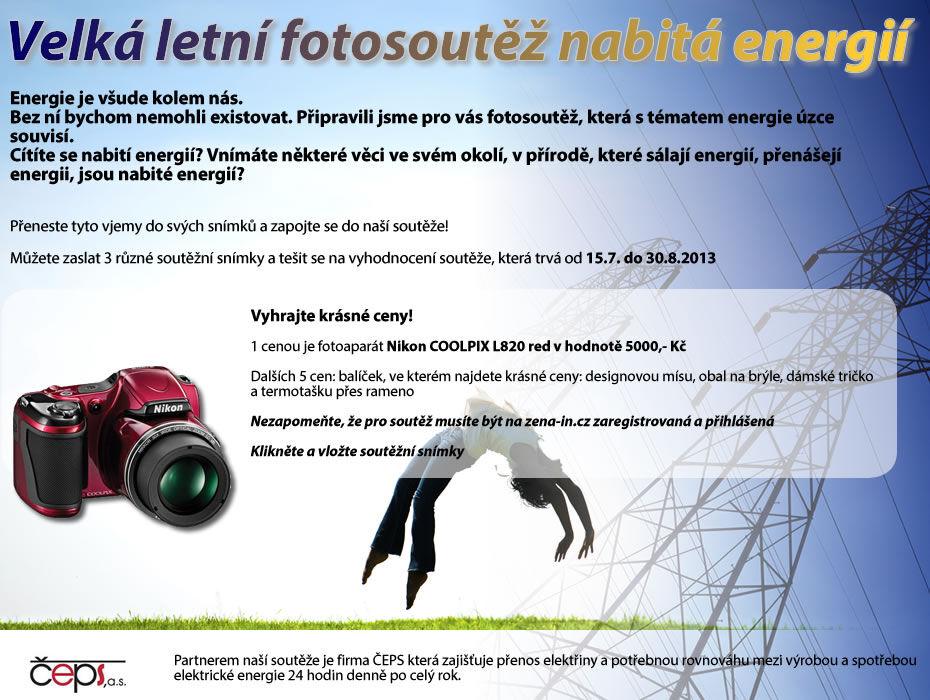 Velká letní Fotosoutěž nabitá energií se společností ČEPS... aneb vyhrajte fotoaparát Nikon v hodnotě 5 000Kč!