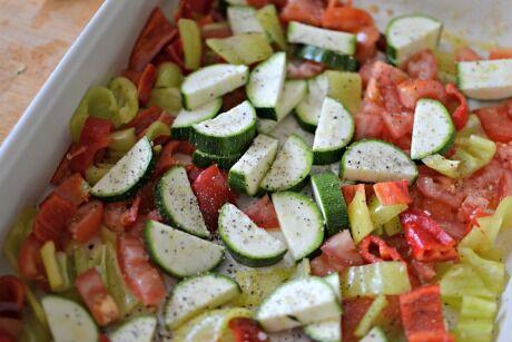pražma se středomořskou zeleninou