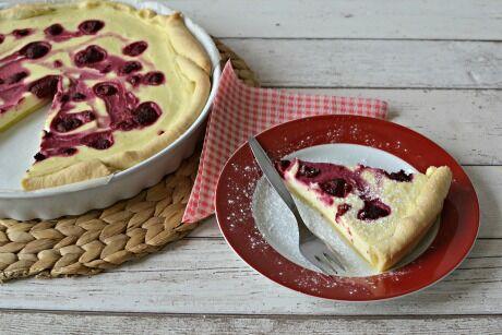 tvarohový koláč s malinami