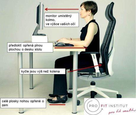 Správné nastavení židle