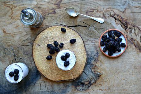 jogurt s chia semínky a ostružinami