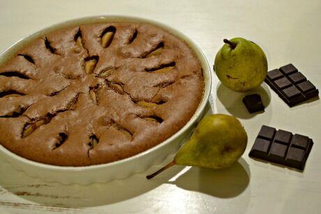 hruškový koláč s čokoládou