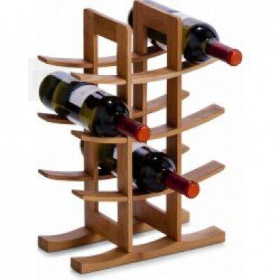 Bambusový stojan na víno jako dárek pro kamarádku vinařku