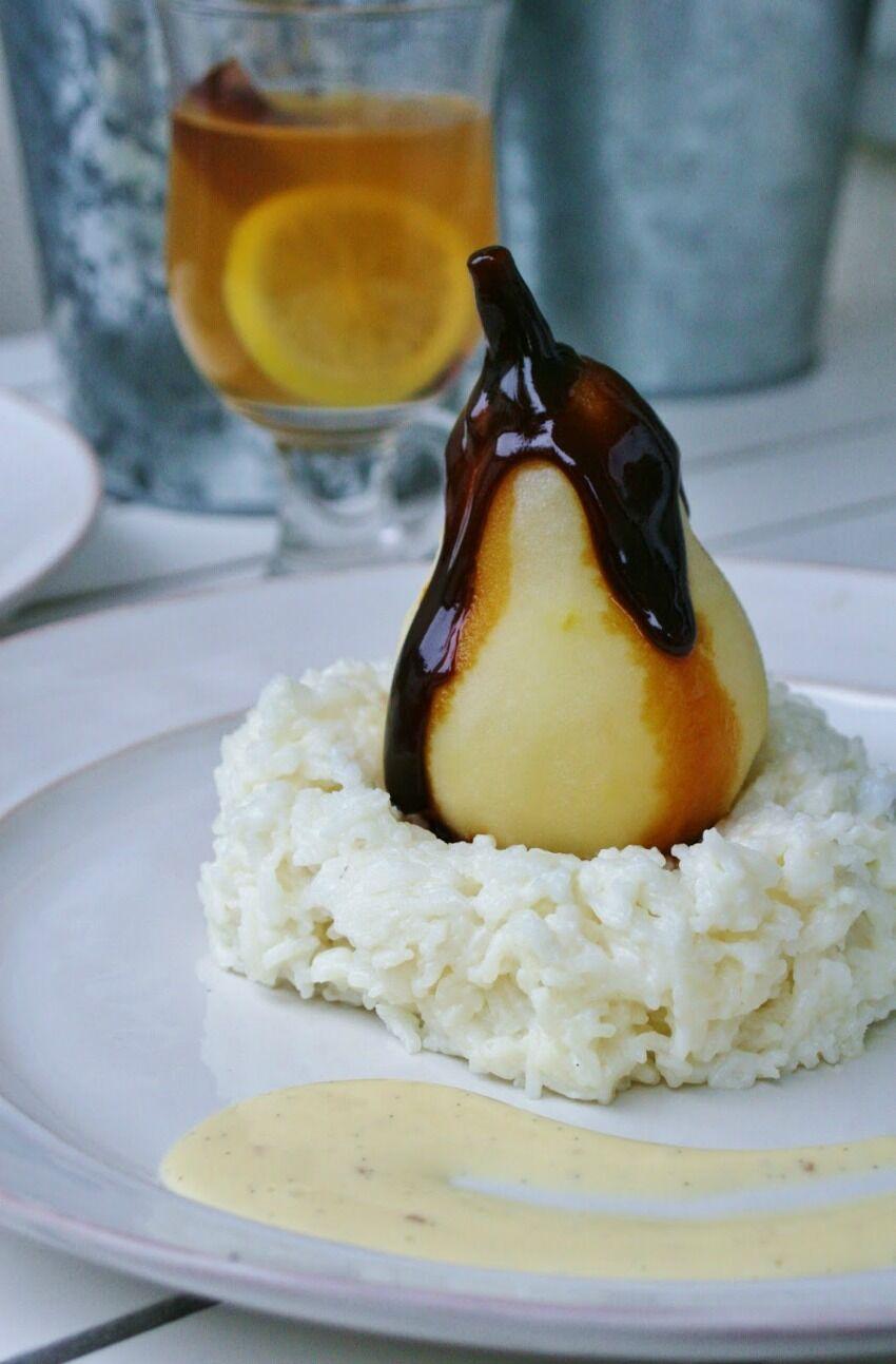 hruška s mléčnou rýží