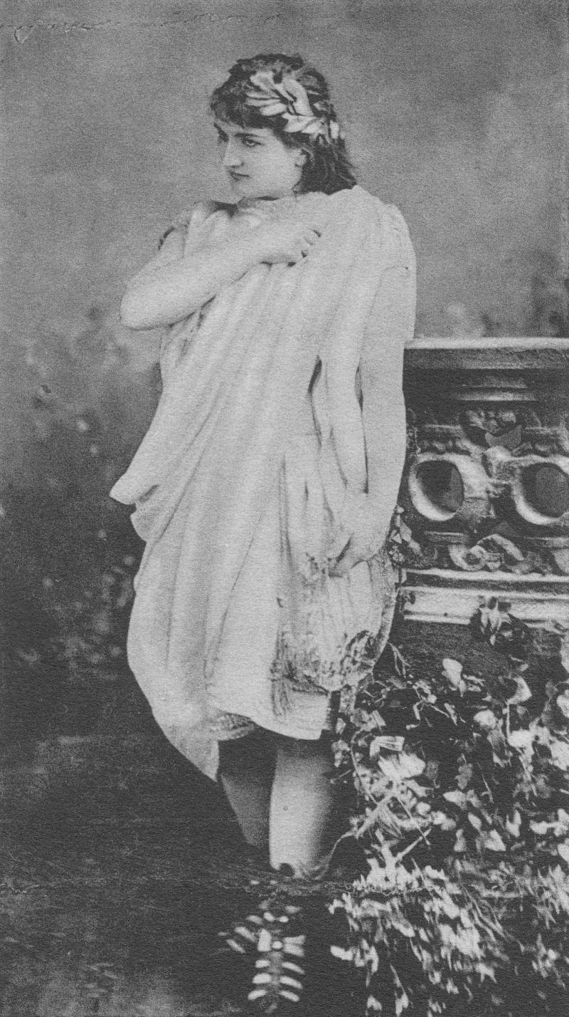 Klementina Kalašová v úloze Orfea z opery Gluckovy. New York, 1882