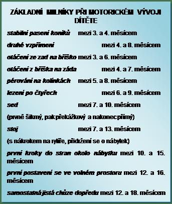 Textové pole: ZÁKLADNÍ MILNÍKY PŘI MOTORICKÉM VÝVOJI DÍTĚTE stabilní pasení koníků mezi 3. a 4. měsícem druhé vzpřímení mezi 4. a 8. měsícem otáčení ze zad na bříško mezi 3. a 6. měsícem otáčení z bříška na záda mezi 4. a 7. měsícem pérování na kolínkách mezi 5. a 8. měsícem lezení po čtyřech mezi 6. a 9. měsícem sed mezi 7. a 10. měsícem (prvně šikmý, pak překážkový a nakonec přímý) stoj mezi 7. a 13. měsícem (s nákrokem na rytíře, přidržení se o nábytek) první kroky do stran okolo nábytku mezi 10. a 15. měsícem první postavení se ve volném prostoru mezi 12. a 16. měsícem samostatná jistá chůze dopředu mezi 12. a 18. měsícem